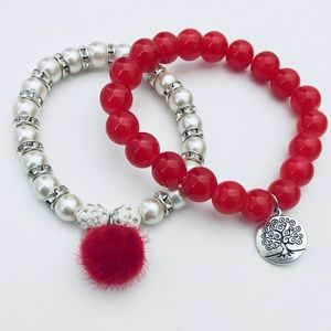 Cherry Red Glass Bead &Pearl Bracelet Duo Set